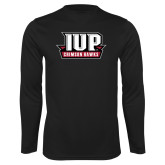 Performance Black Longsleeve Shirt-IUP Hawks Banner