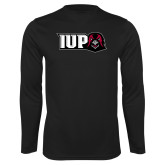 Performance Black Longsleeve Shirt-IUP Hawk Head