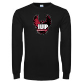 Black Long Sleeve T Shirt-IUP Hawk Wings