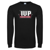 Black Long Sleeve T Shirt-IUP Hawks Banner