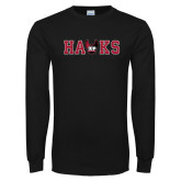 Black Long Sleeve T Shirt-Hawks w Wings Mark