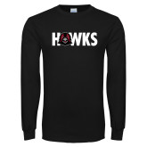 Black Long Sleeve T Shirt-Hawks w Hawk Head