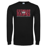 Black Long Sleeve T Shirt-Crimson Hawks Stacked