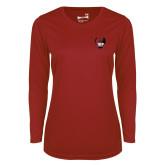 Ladies Syntrel Performance Cardinal Longsleeve Shirt-IUP Hawk Wings