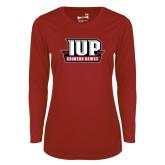 Ladies Syntrel Performance Cardinal Longsleeve Shirt-IUP Hawks Banner