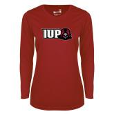 Ladies Syntrel Performance Cardinal Longsleeve Shirt-IUP Hawk Head