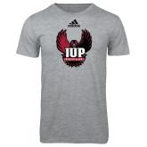 Adidas Sport Grey Logo T Shirt-IUP Hawk Wings