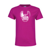 Youth Cyber Pink T Shirt-IUP Hawk Wings
