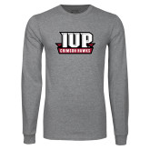 Grey Long Sleeve T Shirt-IUP Hawks Banner