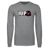 Grey Long Sleeve T Shirt-IUP Hawk Head