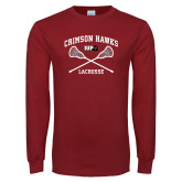 Cardinal Long Sleeve T Shirt-Lacrosse Crossed Sticks