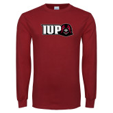 Cardinal Long Sleeve T Shirt-IUP Hawk Head