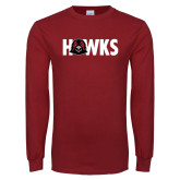 Cardinal Long Sleeve T Shirt-Hawks w Hawk Head