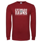 Cardinal Long Sleeve T Shirt-Crimson Hawks Stacked