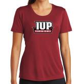 Ladies Syntrel Performance Cardinal Tee-IUP Hawks Banner