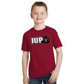 Youth Cardinal T Shirt-IUP Hawk Head