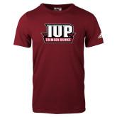 Adidas Cardinal Logo T Shirt-IUP Hawks Banner