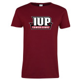 Ladies Cardinal T Shirt-IUP Hawks Banner
