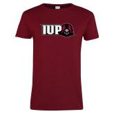 Ladies Cardinal T Shirt-IUP Hawk Head