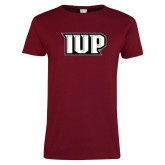 Ladies Cardinal T Shirt-IUP Monogram