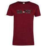 Ladies Cardinal T Shirt-Hawks w Wings Mark