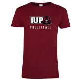 Ladies Cardinal T Shirt-Volleyball