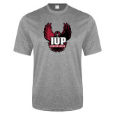 Performance Grey Heather Contender Tee-IUP Hawk Wings