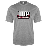 Performance Grey Heather Contender Tee-IUP Hawks Banner