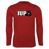 Performance Cardinal Longsleeve Shirt-IUP Hawk Head