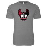 Next Level SoftStyle Heather Grey T Shirt-IUP Hawk Wings