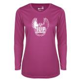 Ladies Syntrel Performance Raspberry Longsleeve Shirt-IUP Hawk Wings
