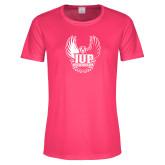 Ladies Performance Hot Pink Tee-IUP Hawk Wings