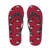 Ladies Full Color Flip Flops-IUP Hawk Wings