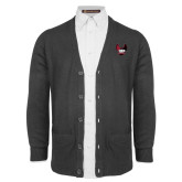 Charcoal V Neck Cardigan w/Pockets-IUP Hawk Wings