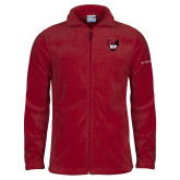 Columbia Full Zip Cardinal Fleece Jacket-IUP Hawk Wings