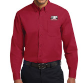 Cardinal Twill Button Down Long Sleeve-IUP Hawks Banner
