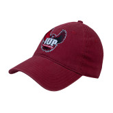 Cardinal Twill Unstructured Low Profile Hat-IUP Hawk Wings