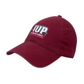 Cardinal Twill Unstructured Low Profile Hat-IUP Hawks Banner