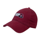 Cardinal Twill Unstructured Low Profile Hat-IUP Hawk Head