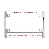 Metal Motorcycle License Plate Frame in Chrome-Crimson Hawks