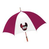 62 Inch Cardinal/White Umbrella-IUP Hawk Wings