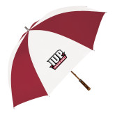 62 Inch Cardinal/White Umbrella-IUP Hawks Banner