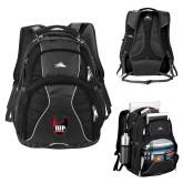 High Sierra Swerve Black Compu Backpack-IUP Hawk Wings