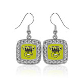 Crystal Studded Square Pendant Silver Dangle Earrings-TMCC Athletics