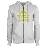 ENZA Ladies White Fleece Full Zip Hoodie-TMCC Stacked with Name