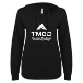 ENZA Ladies Black V Notch Raw Edge Fleece Hoodie-TMCC Stacked with Name