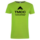 Ladies Lime Green T Shirt-TMCC Stacked with Name