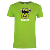 Ladies Lime Green T Shirt-Lizards Soccer