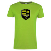 Ladies Lime Green T Shirt-Soccer Badge