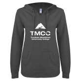 ENZA Ladies Dark Heather V Notch Raw Edge Fleece Hoodie-TMCC Stacked with Name